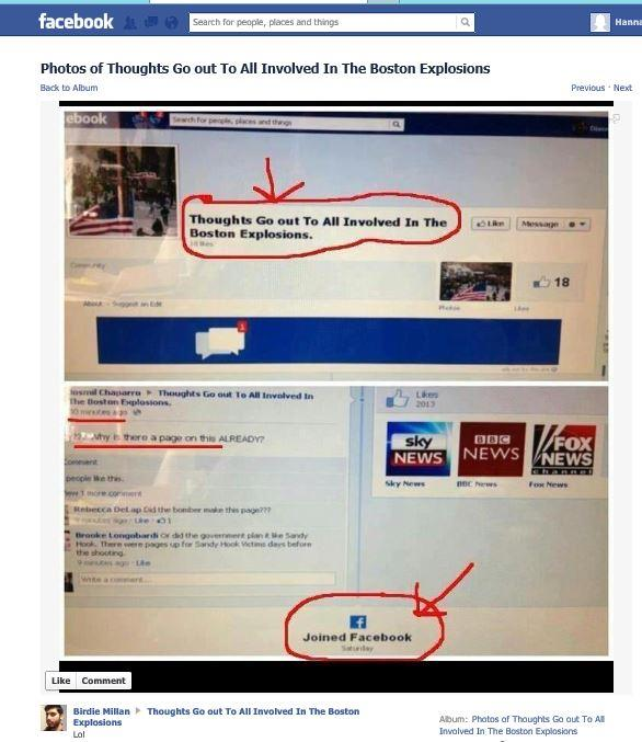 FB Page Created Saturday before Bombing