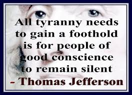 Thomas Jefferson's words echo loudly